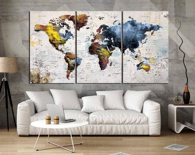 World Map art, World Wall Art,World Map Canvas,World Map Art,World Map Large Print,World Map Print,World Map Art Print,World Map Push Pin
