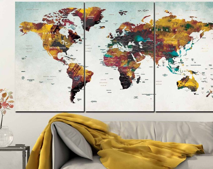 World Map Wall Art,Large World Map,Push Pin Map,Travel Map,Large Push Pin Map,World Map Watercolor,World Map Canvas,World Map Print,Map Art