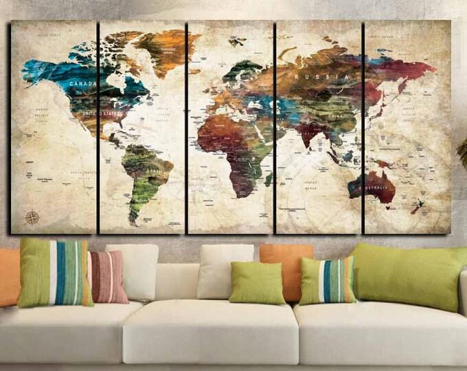 World Map,World Map Abstract,World Map Wall Art, World Map 5 Panel, Abstract Canvas Art,World Map Canvas,World Map Art,Abstract Wall Art,Map