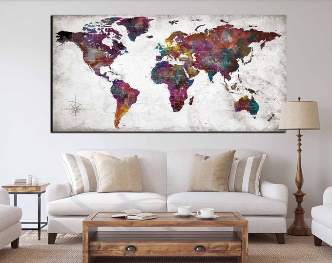 Large world map canvas print, world map wall art, world map art print, world map abstract art canvas print, colorful watercolor push pin map