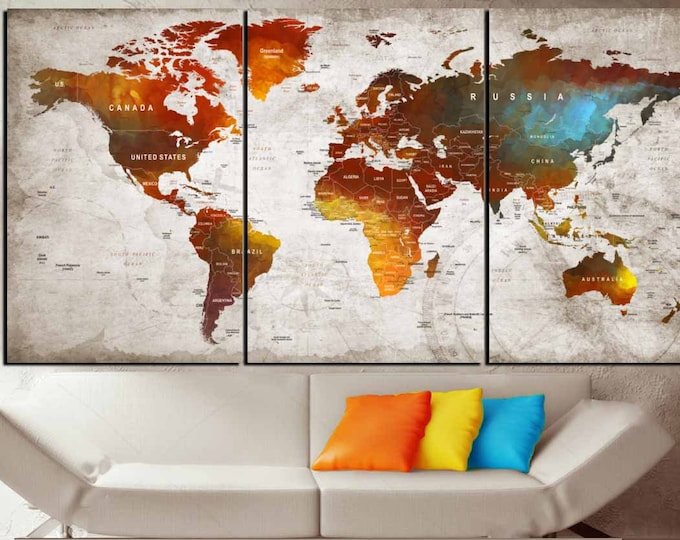 World on Fire Art,World Map Art,World Map Canvas Panels,World Map Watercolor Art,World Map Push Pin,Travel Map Art,Push Pin Map Canvas Panel