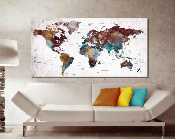 Large World Map Single Panel Canvas Print,World Map Wall Art,World Map Canvas,World Map Art,World Map Print,Push Pin World Map,Travel Map