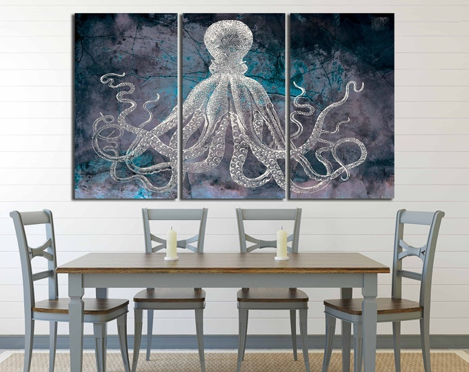 Octopus art, octopus wall art, octopus canvas, octopus art print, octopus large canvas, octopus ocean art, sea creature art, octopus print,