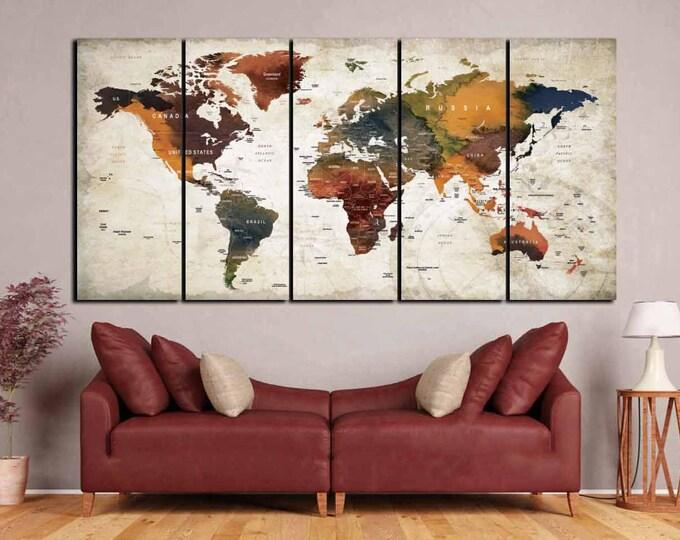 Large World Map Canvas Panels,World Map Wall Art,Watercolor World Map,Push Pin Map,Travel Map Canvas Art,World Map Art,Abstract World Map
