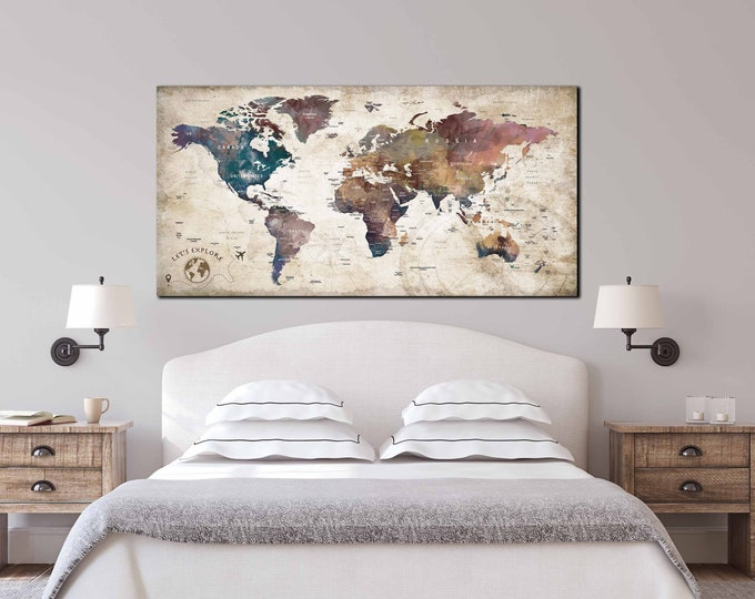 Gift for travelers, gift for travel lovers, Christmas gift ideas, map for travelers, travel map canvas, push pin map canvas, push pin map