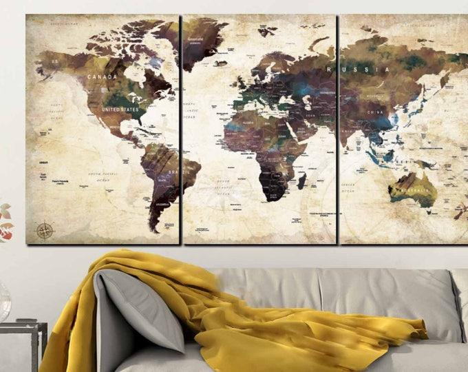World Map Wall Art,World Map Vintage,World Map Canvas,World Map Art Print,World Map Watercolor,World Map Office Decor,World Map Push Pin,