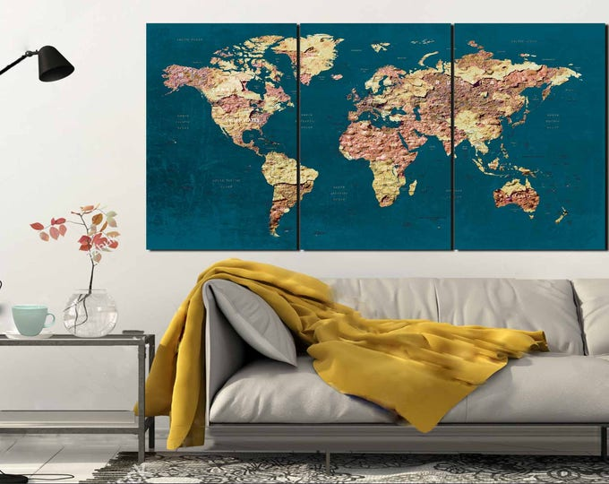 World Map Wall Art,World Map Canvas Art,World Map Print,Large World Map,Abstract World Map,Push Pin World Map,Travel Map,Vintage World Map