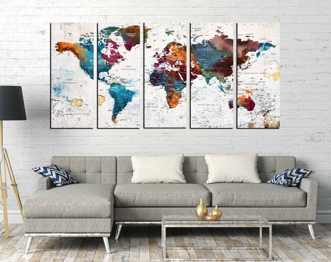 Large world map, world map push pin, world map wall art, world map canvas, world map print, push pin map, push pin world map, travel map