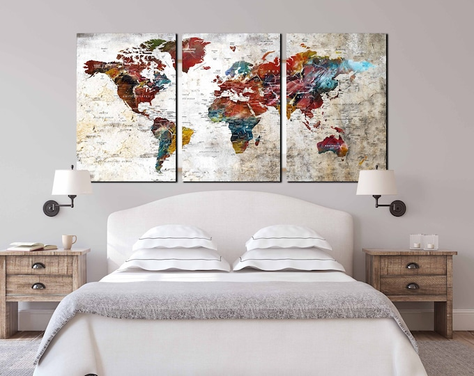 World map art large canvas print, 3 piece canvas large map art, push pin map canvas print, travel map art print, world map wall art large