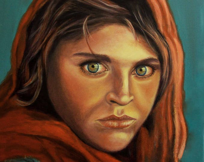 Afghan Girl Painting,Afghan Girl Wall Art,Afghan Girl Portrait,Afghan Girl Canvas Art,Afghan Girl Art Print,Afghani Green Eyes Oil Painting