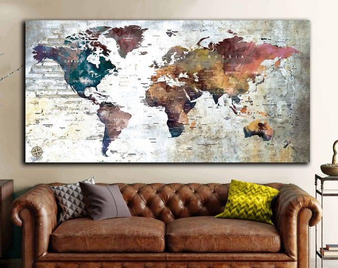 World Map Push Pin,World Map Wall Art,World Map Canvas,World Map Poster,World Map Wall Decal,World Map Travel,World Map Print,Custom Map