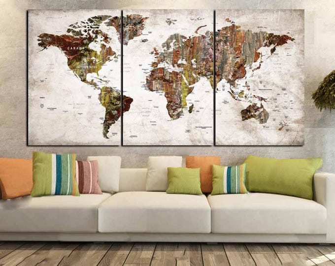World Map Canvas,World Map Wall Art,Large World Map Art,Large Map Art Print,World Map Abstract,Push Pin World Map,Travel Map,World Map Print