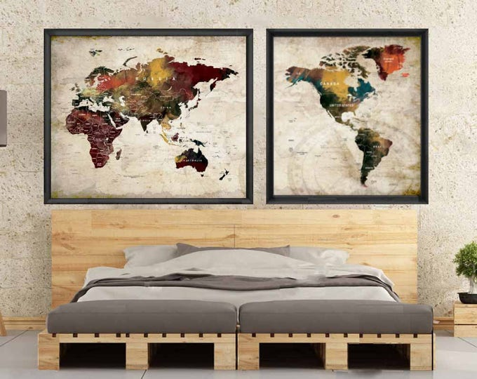 Large World Map Watercolor Map Art Poster,Push Pin Map Poster, Travel Map Poster,World Map Decal, World Map Decal,World Map Wall Art,Map Art