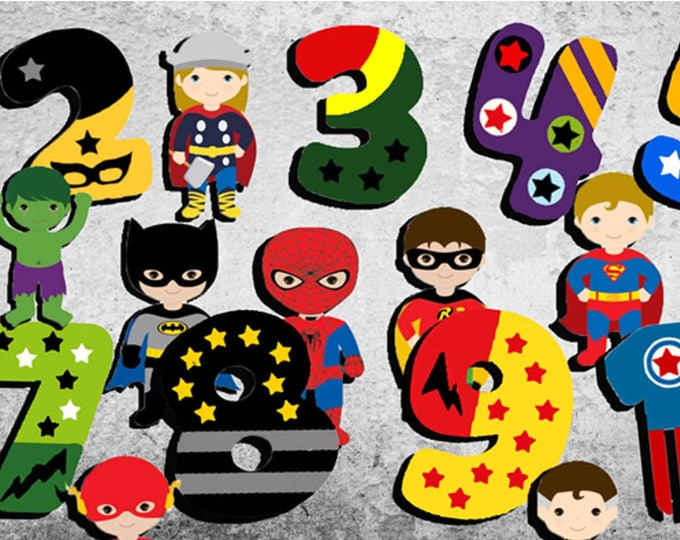 Superheros Numbers,Numbers Wall Art,Numbers Wall Decal,Numbers Poster,Numbers Print,Nursery Room Art,Kid's Room Wall Art,Nursery Room Wall