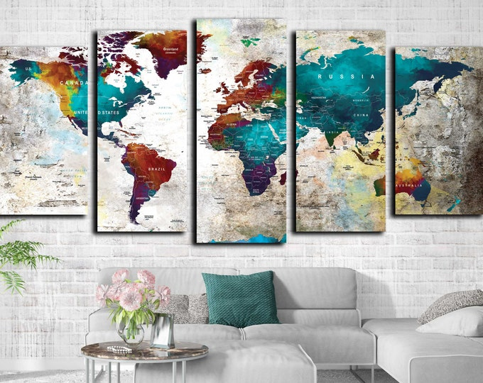 World map large 5 panel canvas print, world map wall art, world map push pin, world travel map, world map push pin, decorative wall art,
