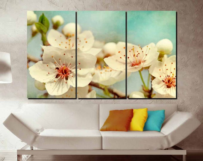 Cherry Blossom Wall Art Large Canvas Print,Cherry Blossom Art,Cherry Blossom Large Canvas Art,Cherry Blossom Canvas Panels,White Flowers Art