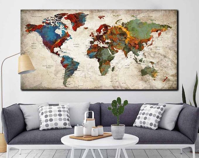 Push Pin World Map,World Map Pushpin,World Map Canvas,World Map Art,World Map 3 Panels,Travel Map Canvas,Travel Map Pushpin,Rustic World Map