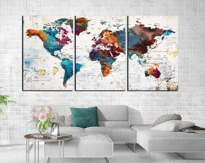 World map wall art large canvas print, world map canvas, push pin map, travel map large print, world map print, world map abstract art, map