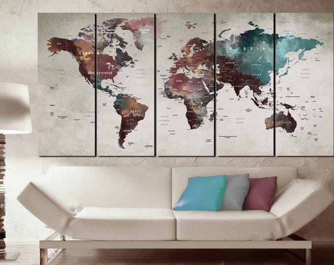 Push Pin World Map,Push Pin Map Art,World Map Art,World Map Wall Art,World Map Canvas,Push Pin Map Canvas Art,World Map Travel,Abstract Map