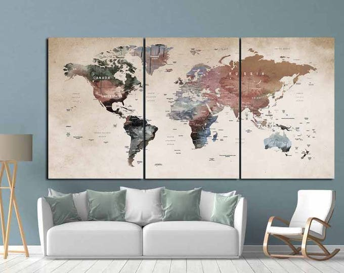 World Map Wall Art,World Map Canvas,World Map Print,Large World Map,Vintage World Map,Abstract World Map,Travel Map,Push Pin Map Art,Decal