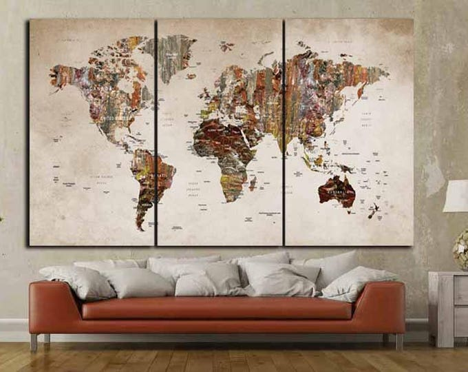 World Map Canvas Art,World Map Wall Art,Large World Map Art,Travel Map,Push Pin Map Canvas,Travel Map Canvas,World Map Print,Abstract Map