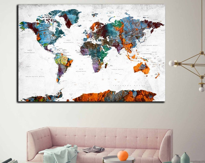 World Map Single Panel Wall Art,Push Pin Map Canvas Print, Large World Map Print,World Map Art,World Map Art,World Map Abstract Canvas Print