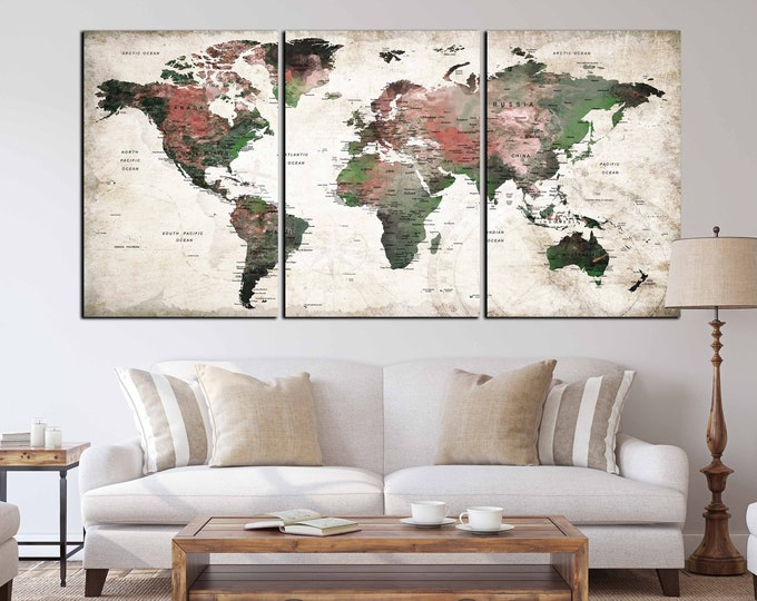 World Map Wall Art,World Map Canvas,Large World Map,World Map Print,World Map Push Pin,Travel Map,World Map Art,World Map Canvas Art, Map