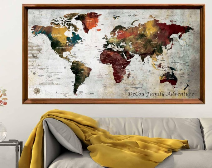 Large World Map Poster Print,World Map Art Poster,Push Pin Map Poster,World Map Wall Art,World Map Print,World Map Decal,World Map Art Print