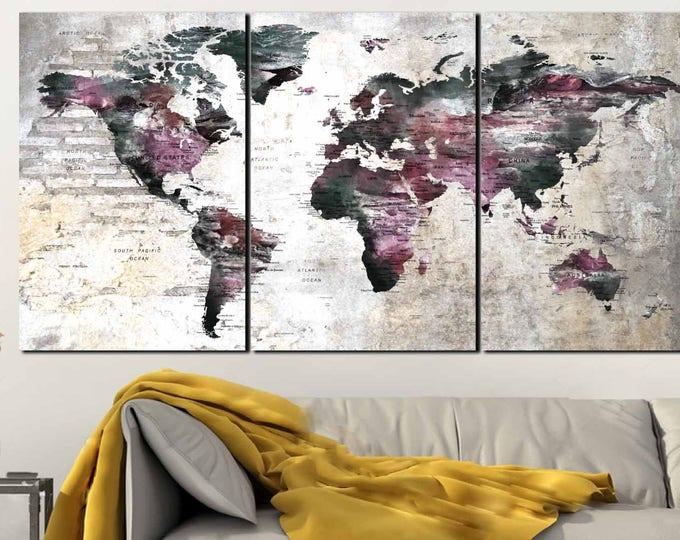 World Map Push Pin,World Map Wall Art,World Map Canvas,World Map Art,Push Pin World Map,Large World Map,World Map Poster,World Map Print