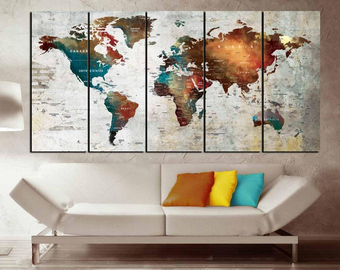 5 Panel World Map Canvas Print,World Map Wall Art,World Map Push Pin,Push Pin Map Art,World Map Canvas,World Map 5 Panels,World Map Art