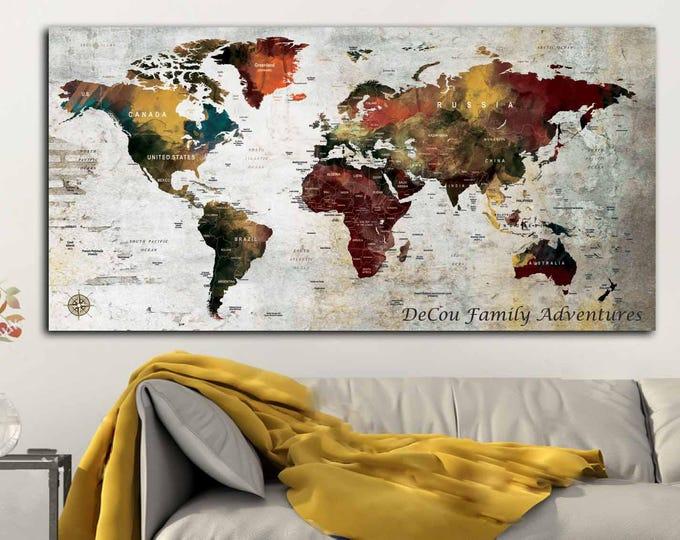 Large Push Pin Map Canvas Print,World Map Push Pin,Push Pin Map,Custom Push Pin Map,Push Pin Map Wall Art,Push Pin Map Travel,Push Pin Map