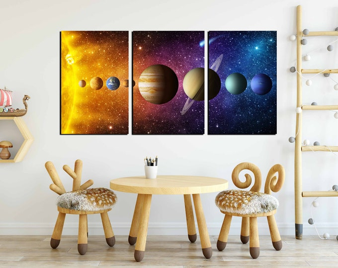 Solar system wall art 3 panel canvas art print, solar system art print, outer space art, kids room art, nursery room art, solar system print