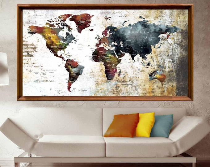 Large World Map Poster,Push Pin Map Poster,World Map Print,World Map Art,World Map Art Print,World Map Push Pin,Travel Map Art,World Map