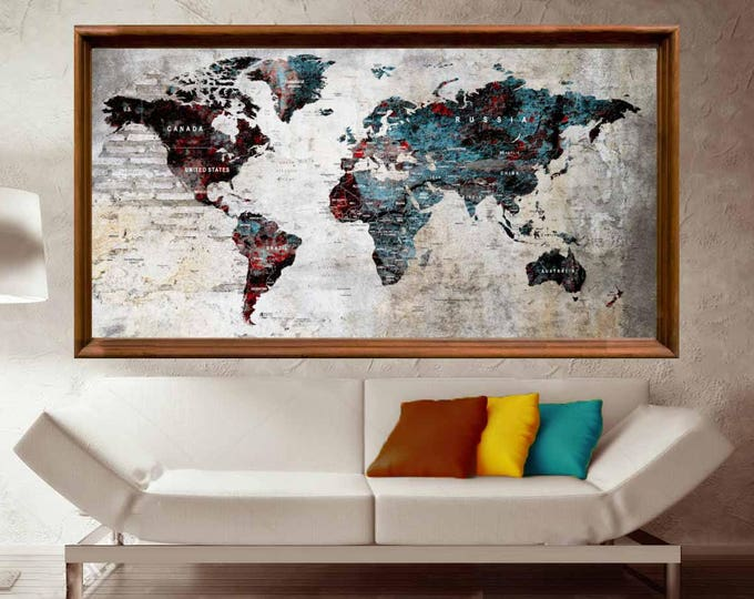 World Map Poster,World Map Wall Art,Large World Map Art Print,World Map Push Pin,World Map Art,World Map Canvas,World Map Decal,Travel Map