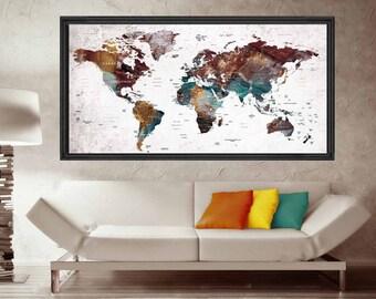 Canvas world map etsy push pin world mapworld map pushpinworld map canvasworld map artworld map postertravel map postertravel maprustic pushpin map poster gumiabroncs Choice Image