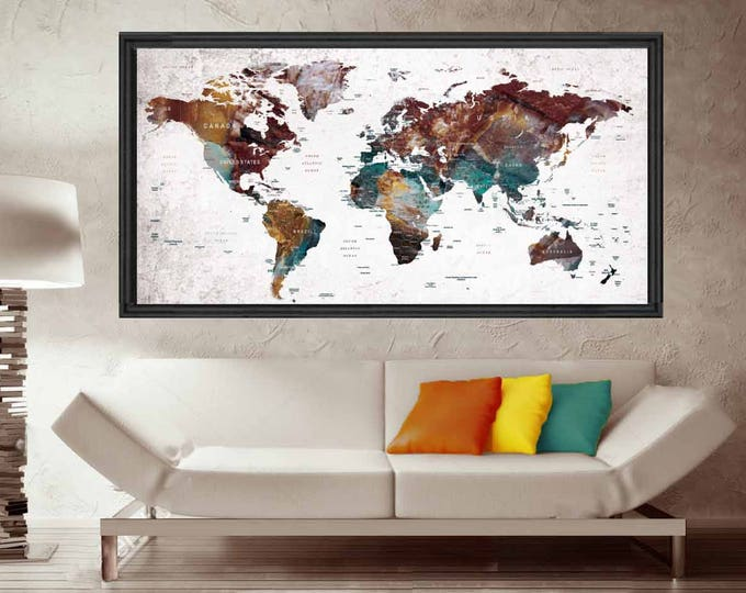 Push Pin World Map,World Map Pushpin,World Map Decal,World Map Art,World Map Poster,Travel Map Poster,Travel Map,Rustic Pushpin Map Poster