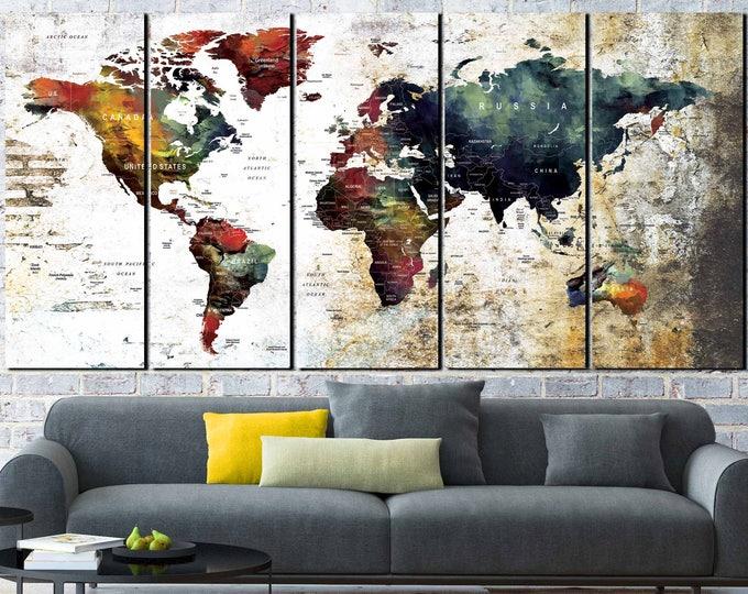 World Map Wall Art,World Map Canvas,Large World Map,World Map Art,Travel Map,Travel Map Canvas,World Map,Push Pin Map,Push Pin Map Canvas