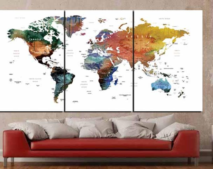 World Map Canvas,World Map Wall Art,World Map Watercolor,World Map Push Pin,Large World Map,World Map Print,Travel Map Large, World Map Art