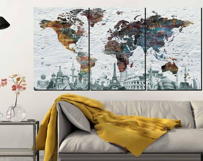 Push Pin World Map,Push Pin Map Canvas,World Map Wall Art,Push Pin Map Large,Large World Map,World Map Art Print,World Map Colorful,Map Art