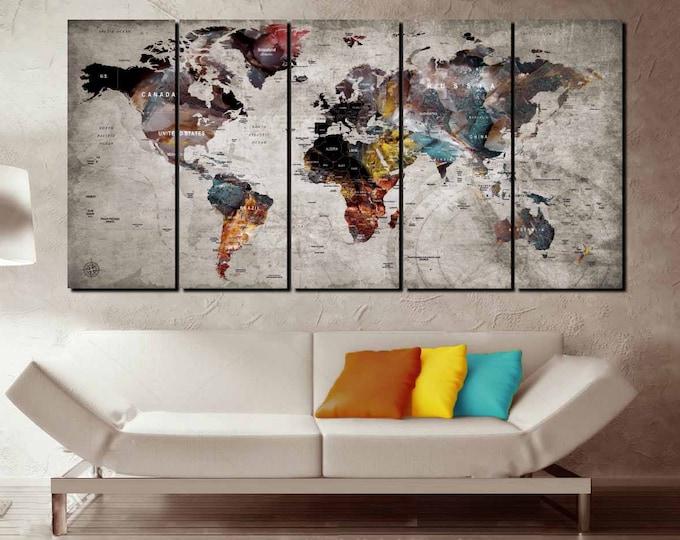 World Map Wall Art,World Map Canvas,World Map Art,Large World Map,World Map 5 Panels,Travel Map,Travel Map Wall Art,Push Pin Map,Map Art