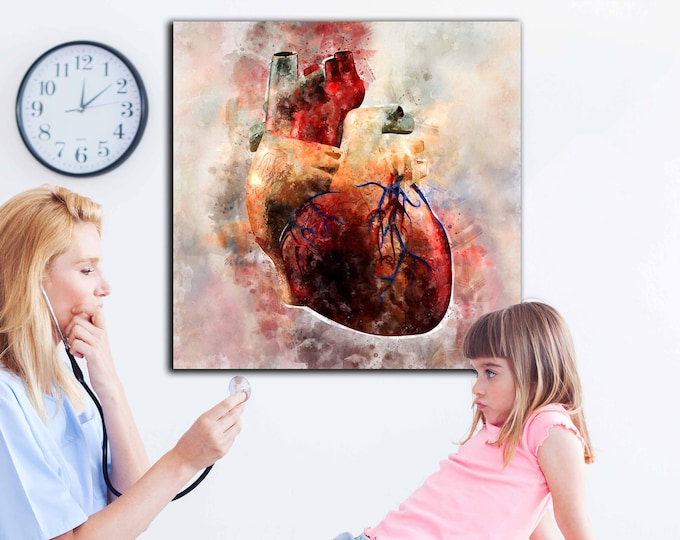 Heart watercolor art canvas print, heart wall art print, medical art canvas print, heart art print, doctors office decor, hospital wall art