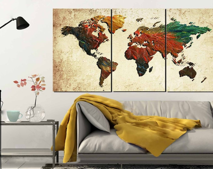 Large World Map,World Map, World Map Painting, Abstract Map Wall Art,Map Oil Painting,World Map Canvas Print,World Map Rooster pattern,