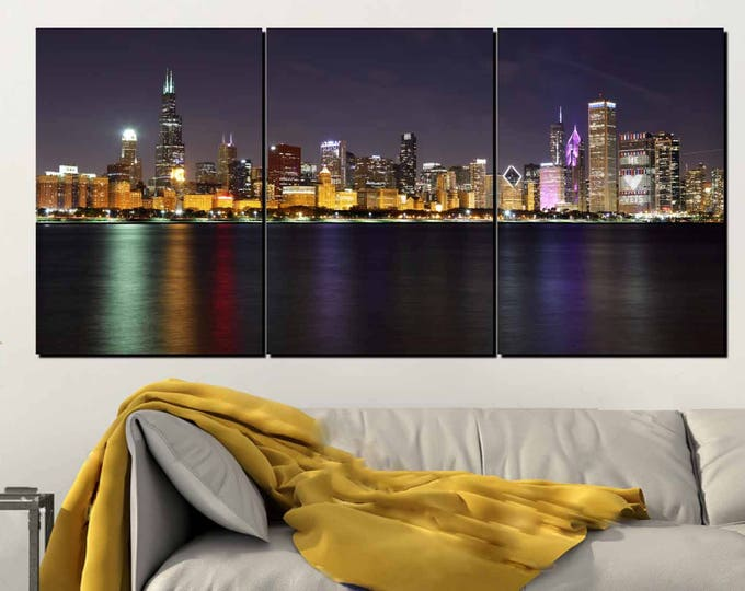 Chicago Skyline,Chicago Skyline Wall Art,Chicago Skyline Canvas,Chicago Night,Chicago Sunset,Chicago Panorama, Chicago Skyline Art,Chicago