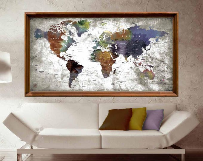 World Map,World Map Large Poster Print,World Map Wall Art,World Map Push Pin,World Map Wall Decal,World Map Push Pin,Travel Map Poster,Decor