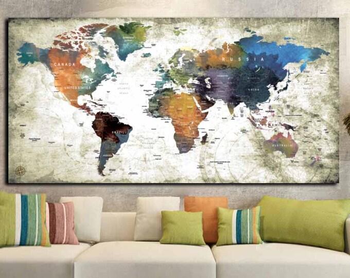 World Map Single Panel Wall Art,World Map,Word Map Wall Art,World Map Canvas,Large World Map,World Map Print,World Map Panel,World Map Art