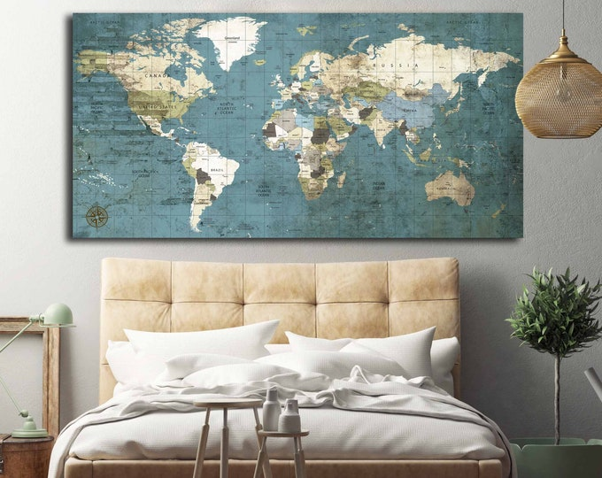 World Map Blue,World Map Wall Art,World Map Canvas,World Map Art,World Map Large,World Map Push Pin,Push Pin Travel Map,Vintage World Map