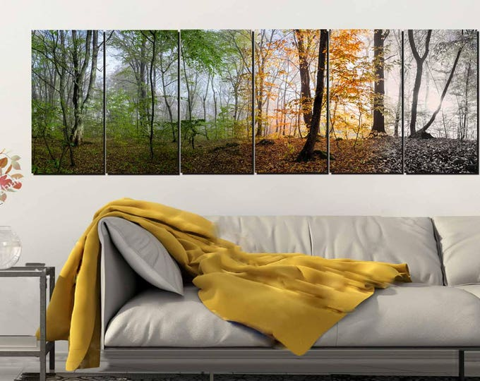 Seasons Art,4 Season Wall Art,Seasons Wall Art,Landscape Wall Art,Tree Seasons Art Print,Panoramic Trees,Panoramic Seasons,Four Seasons Art