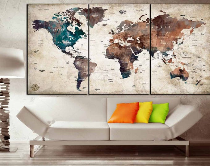 World Map Wall Art,Large Push Pin World Map, Travel Map,Pushpin Map,Pushpin Map Wall Art, World Map Pushpin, World Map Canvas,World Map Art