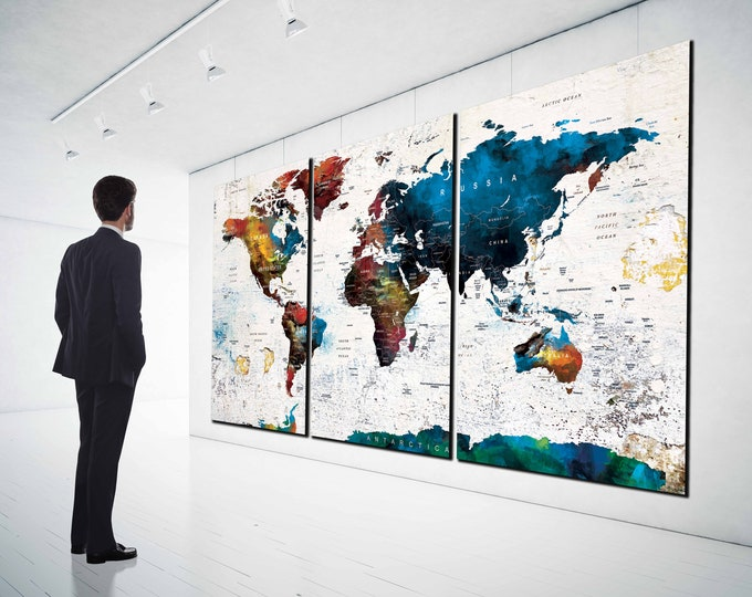 World Map,Large World Map,World Map Wall Art,Travel Map,World Map Pushpin,Large Map Canvas,World Map Poster,World Map Art,Watercolor Map Art