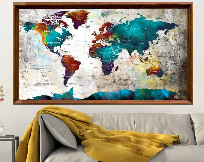 Large World Map Push Pin,Poster,World Map Poster, World Map Wall Art, World Map Poster Vintage, World Map Abstract, World Map Art, World Map